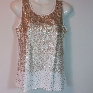 Chico's White Tank w/ Soft Gold Sequins